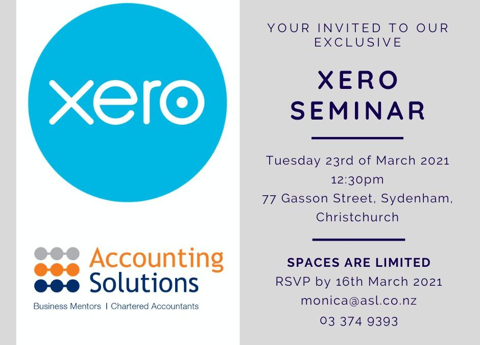 Your Invited To Our Exclusive Xero Seminar